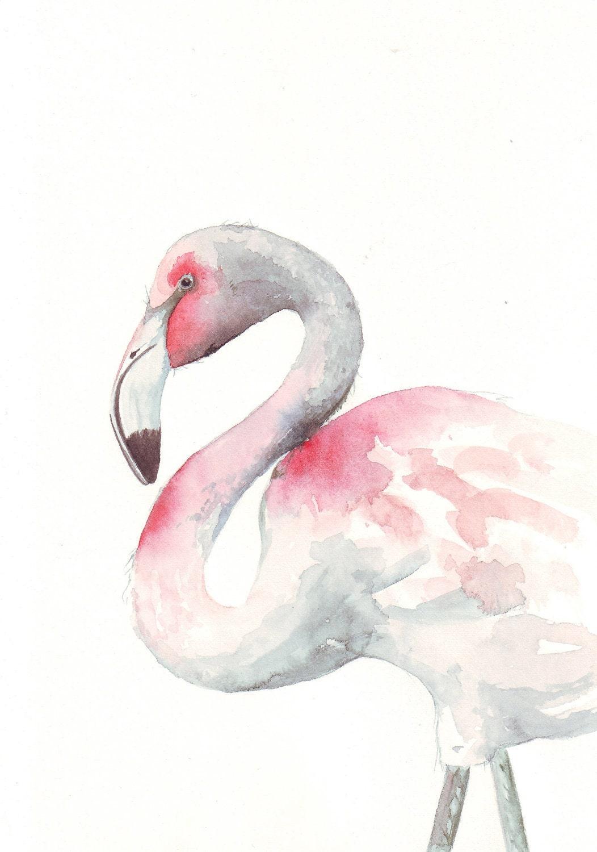 Flamingo painting bird ART ORIGINAL watercolor by LouiseDeMasi