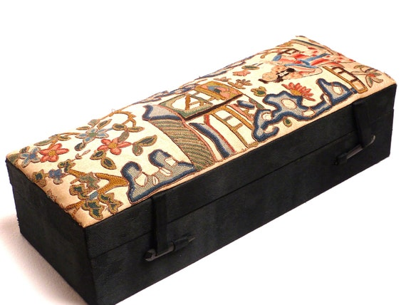 RESERVED LISTING Antique Chinese Embroidered Silk Jewellery Box