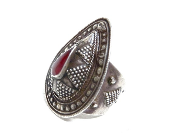 Vintage Tribal Kazakh Red Carnelian Ring