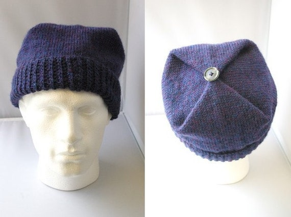 Hand knitted men's square, envelope style hat.