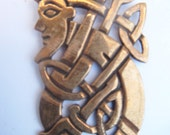 ABSTRACT TRIBAL Antique Look Brass Pendant codeB22