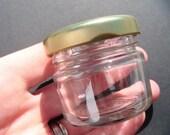MINI Small Glass JAM JAR Preserve Jar Favor Favour Pot Gold Lid 1.5oz