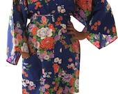 Vintage BLUE Happi Coat (Short Kimono, Made in Japan in the 80s)