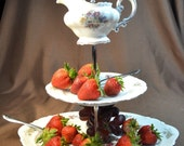 3 Tier Cake or Tea Stand Mint German China FREE US shipping
