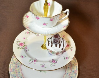 Cakestand 3 Tier Royal Bridal Gown Vintage China Tea Stand for Weddings, Tea Parties, Displays, Showers, Jewelry Stand FREE shipping