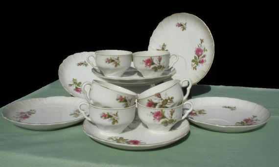 Antique Moss Rose Vintage Luncheon Set