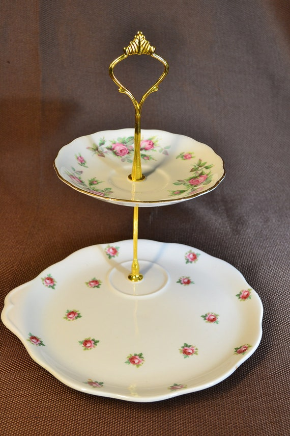 2 Tier Off Center Vintage China Cake Tea Jewelry Stand Weddings, Tea Parties, Showers, Display FREE shipping