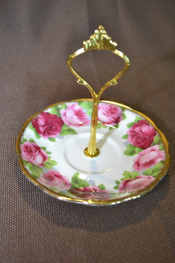 Jewelry Stand Royal Albert Old English Rose Saucer Stand Tidbit Tray Cake Stand FREE Shipping