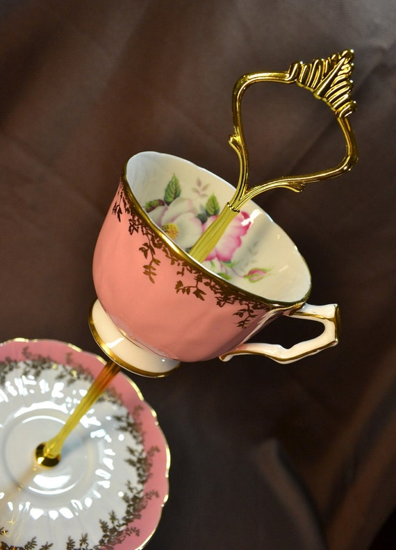 Jewerly Tidbit Stand Pink and Gold Aynsley Vintage China FREE Shipping