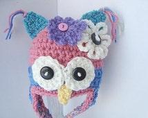 Crochet Pattern - Happy Owl Hat - SPP14.  beanie or earflap owl hat pattern sizes Newborn to age 3