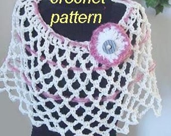 Instant Download PDF Crochet Shawl Pattern - Cute Summer Capelet - SPP-08 make it any size