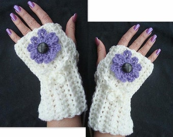 Crochet Pattern - Fingerless Gloves SPP-21 Instant Download PDF instructions for all 5 flowers shown in the photos..