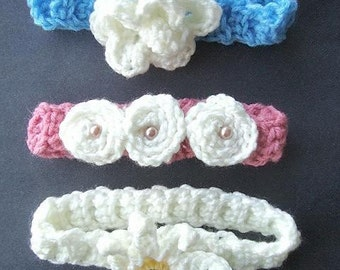 Instant Download PDF Crochet Pattern - 3 Headband Set - SPP-27 All 3 of my handy headband patterns,   newborn to adult.
