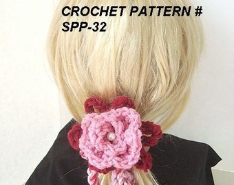 Instant Download PDF Crochet Pattern SPP-32.  Make your own headbands, hair ties, pony tail ties, barrettes, etc. make them any size