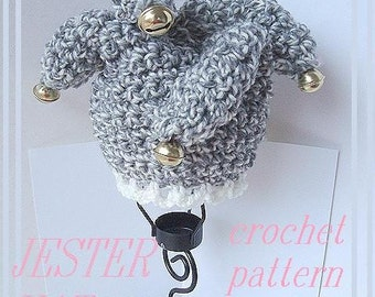 Instant Download PDF Crochet Pattern - Jester Hat with 4 Tails - SPP-33  newborn to age 5.