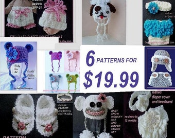 crochet patterns, knitting patterns, SPP 6 for 19.99.  ok to sell your finished items, HATS, baby accessories, diaper covers, photo props