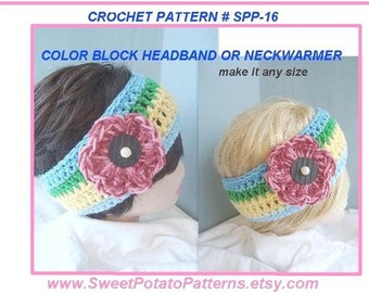 Instant Download PDF Crochet Pattern - Color Block Headband SPP-16 sizes toddler to adult - Permission to sell your finished hats