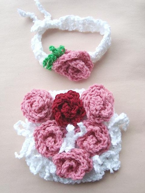 Instant Download PDF Crochet Pattern - Baby Rose Covered Tushie Diaper Cover and Headband  SPP-23  make sizes newborn to 12 months.