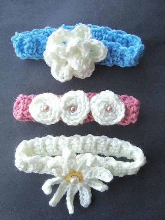 Instant Download PDF Crochet Pattern - 3 Headband Set - SPP-27 All 3 of my handy headband patterns,   newborn to adult.