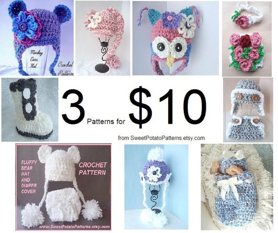 Crochet Patterns Special - Hats,diaper covers, baby accessories PDF delivered by email Choose 3 patterns for 10 dollars. Make them yourself.