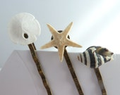Sea Creatures Bobby Pin Set, beach wedding, nautical, shell, starfish, sand dollar