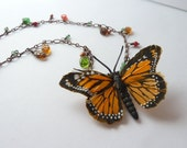 Butterfly Necklace, Butterfly Pendant, Monarch butterfly, Woodland Necklace, Nature jewelry, Rustic, Nature, Garden