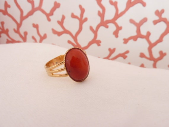 Red Coral Ring, Red bamboo coral, Red and gold, Red ring,  oval stone ring, adjustable ring