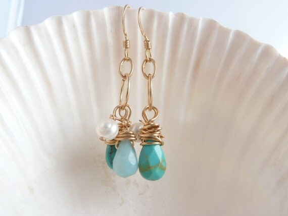 Turquose dangle earrings, turquoise, blue, 14k goldfill earrings, something blue