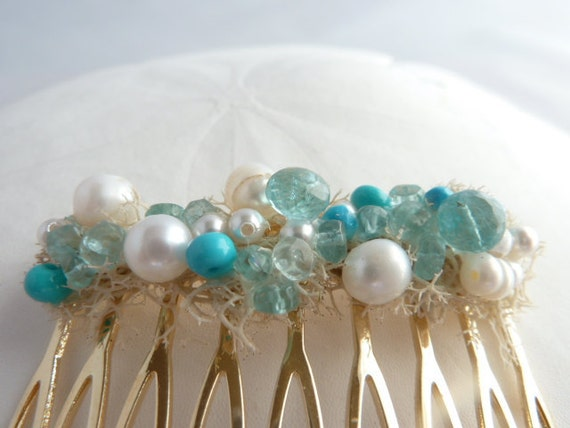Blue Gemstone Hair Comb, Beach wedding, Mermaid, Hair comb, Something blue, pearls