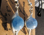 Wire Wrapped Baby Blue Crackle Earrings 008