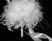 Feather & Swarovski Crystal Couture Bouquet - Snow White Bridal or Bridesmaid Toss Bouquets - Custom Wedding Chandelle Feathers Colors Small