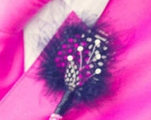 Guinea Feather Boutonniere (Boutineers) - Crystal Accents Hot Pink Fuchsia Black and White or Custom Colors Groom Boutonnieres