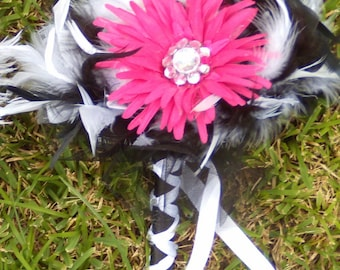 BLING Gerber Daisies and Feather Bridesmaid or Toss Bouquet - Fuchsia Hot Pink Black White or Custom Daisy & Feather Colors Wedding Bouquets