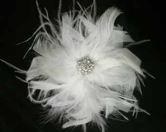 CUSTOM COLORS Ostrich Feather and Crystal Chandelle Fascinator - BLING Corsage Crystal Hair Piece Bridal Wedding Brooch White Black Ivory