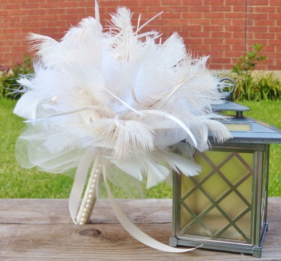 White and Ivory Ostrich Feather Bridal Bouquet - Ivory, Cream, Antique, Vintage Style Feathers, Bouquets with Pearls - Custom Wedding Colors