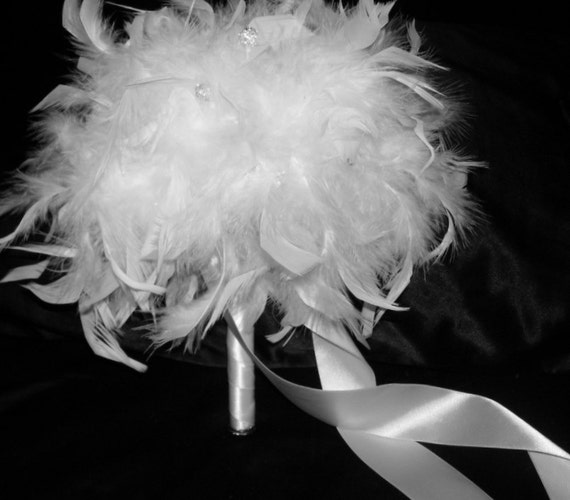 Diy Feather Bouquets Weddings: Items Similar To Feather & Swarovski Crystal Couture
