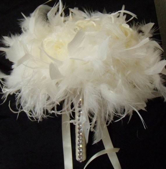 White Wedding Bouquet With Feathers Ivory Bling Ostrich Feather Rose Flower Bridal Off