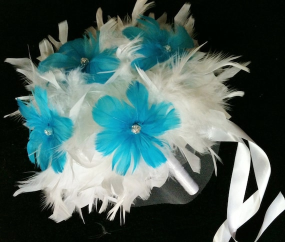 CUSTOM COLORS Feathers & Flowers BLING Crystal Bridal Bouquet Swarovski and Feather Lily Bride Wedding Bouquets Malibu Blue White Turquoise
