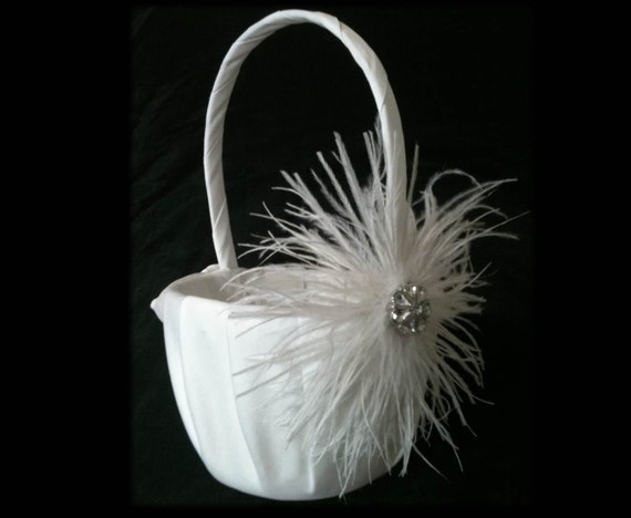 PURE WHITE Wedding Basket - Flower Girl Ostrich Feather and Crystal Accent - Vintage Style Ivory Custom Colors Feathers Baskets Flowergirl