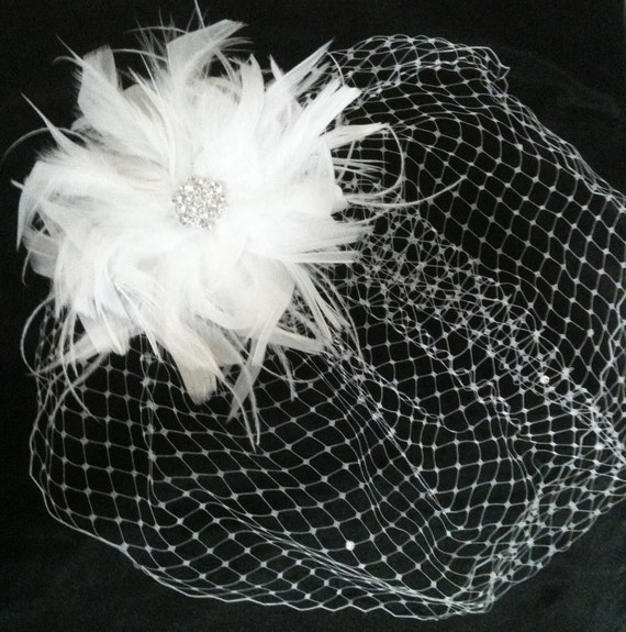 Feather FASCINATOR and BIRDCAGE Veil Set Swarovski Crystal BLING Bridal Hair Piece Comb White Bride Bird Cage Clip Wedding Blusher Feathers