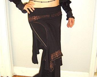 Alexa Layering Danceskirt with Handprinting, Other Colors, Tribal, Belly Dance, Salsa, Fairy Costume, Theatre, Circus, Performance skirt,
