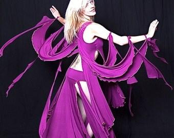 The Gaia Goddess Fairy Wings Dance Costume Top in Royal Purple Modal / Dramatic, Dancwear, Theater, Bellydance, Showgirl, Custom