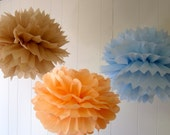 Abigail Collection- 3 Pom Poms- Hanging baby shower decorations/ kids room hanging decoraiton/ nursery mobile/ photography prop