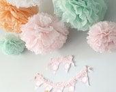 Tissue paper pom poms, baby girl shower decorations, wedding shower decorations, flower pom poms, paper party decorations, tissue pom poms