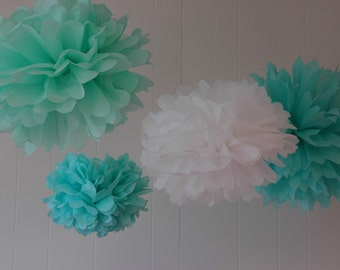 Tiffany Collection- 5 Pom Poms- craft show booth decorations/ stella and dot trunk show decoration/ hanging wedding decorations