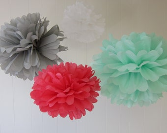 Sarah Elizabeth Collection- 5 Pom Poms- Girls birthday party/ girls room decorations/ hanging party decorations/ baby shower decorations