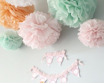 Maggie Collection- 5 Pom Poms- baby girl shower hanging decorations/ wedding shower/ getaway car decoration/ vintage party decorations