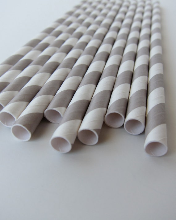 25 Grey and White Striped Paper Straws
