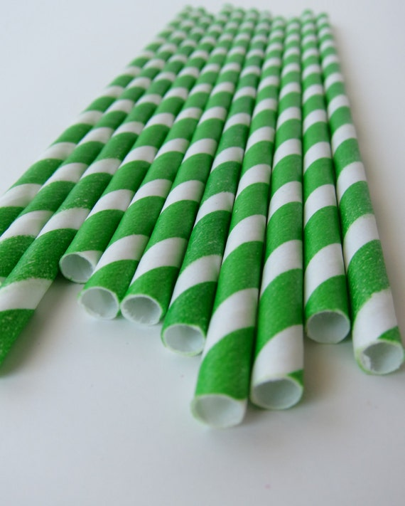 25 Green and White Striped Paper Straws- St. Patrick's Day Party Barber Pole Drinking Straws/ Paper Drinking Straws/ Wedding/ Baby Shower