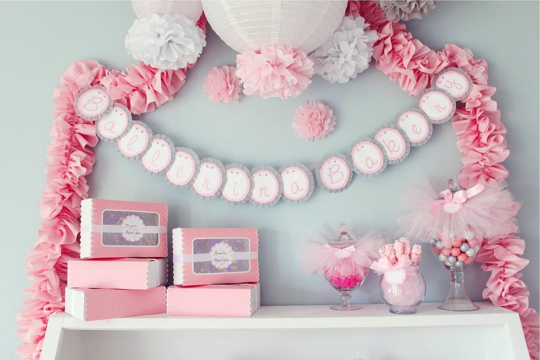 tissue paper pompoms girly baby shower decorations ballerina. Black Bedroom Furniture Sets. Home Design Ideas